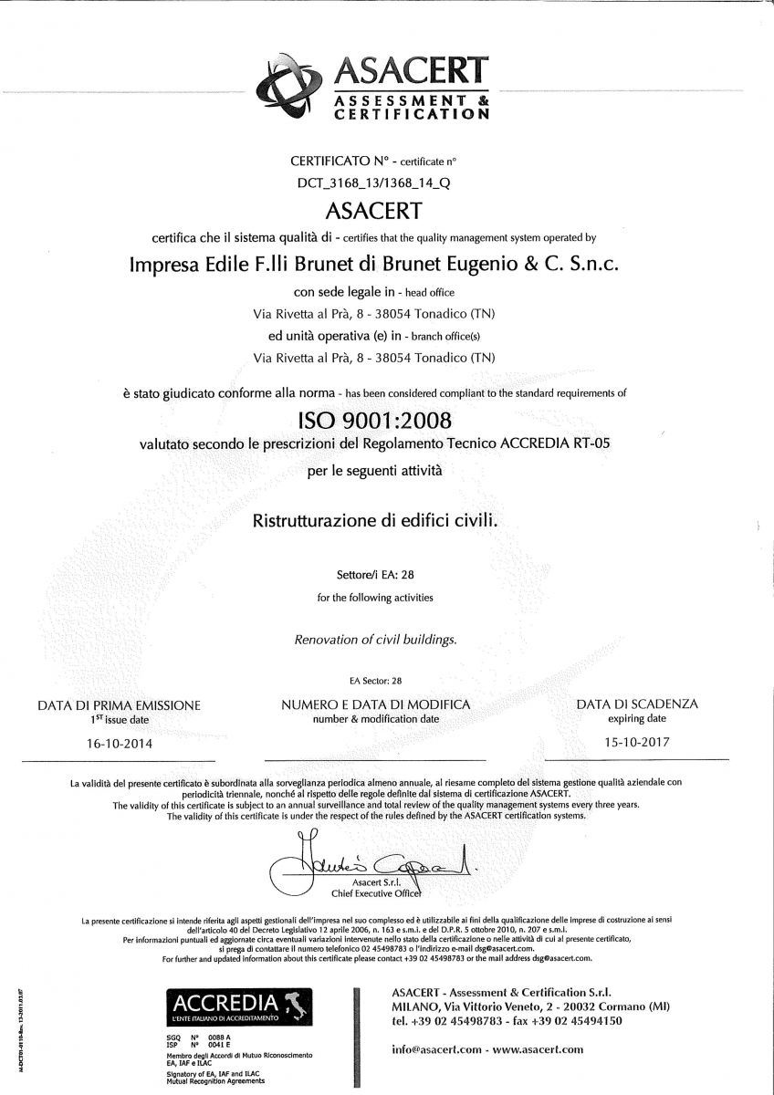 impresa edile fratelli brunet tonadico certificazioni
